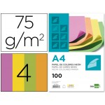 Papel A4 de 4 colores fluorescentes 75 g. Liderpapel
