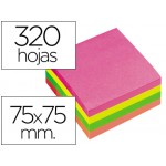 Taco de notas adhesivas de colores fluorescentes 76 x 76 mm. Quick Notes