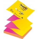 Taco de notas adhesivas zig-zag bicolor 76 x 76 mm. Post-it