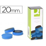 Imanes redondos 20 mm. azules Connect (Caja de 10)